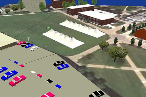 this is a computer aided design for an event showing parking and tent setup